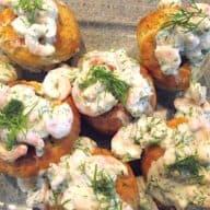 Kartoffelmuffins med rejefyld
