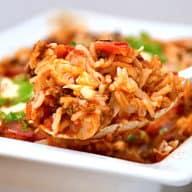 oksekød og ris i ovn