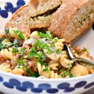 pastaret med champignon og flødesovs