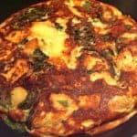 kartoffelomelet med spinat og feta