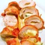 Fyldt svinemørbrad med mozzarella og bacon er en meget lækker ret, som du sagtens også kan servere som gæstemad. Man kan også kalde det en luksus udgave af stegt mørbrad. Foto: Newyorker By Heart, Madensverden.dk.