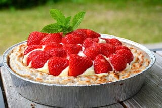 jordbærtærte med kransekage
