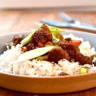 mongolian beef med ris